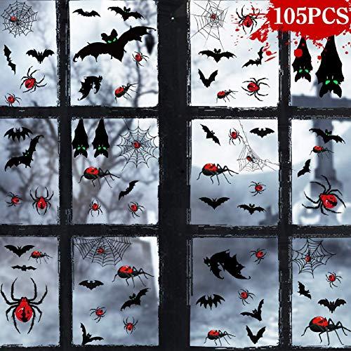 CMTOP Halloween Pegatinas para Pared Murciélagos 3D de DIY arañas Falsas telaraña de araña Kit con Ojos Fluorescentes Halloween Decoración Pared Pegatinas Prop Material De PVC