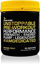 DEDICATED Nutrition Unstoppable - Pre Workout, Focus, Pump, Energy, Nitric Oxide | Theacrine Rhodiola Rosea Extract, Grape Seed Extract, Vitamin C, Huperzine A, 30 Serving (Dragon Fruit)