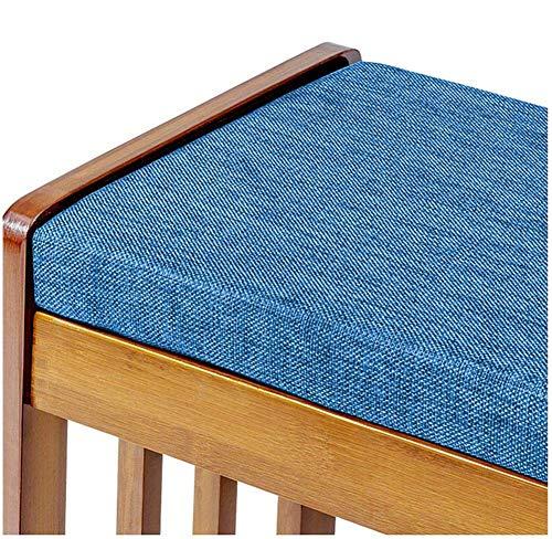 ANBEN Cojín de lujo para banco de jardín de 4 plazas, de espuma suave, grueso, para silla de banco, para jardín, patio, comedor, cocina, interior, exterior, azul, 180 x 30 cm