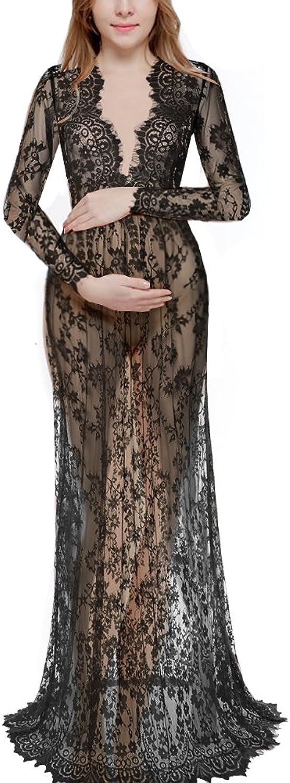 Saslax Women's Deep VNeck Long Sleeve Lace SeeThrough Wedding Maxi Dress