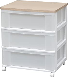 アイリスオーヤマ チェスト 木天板 3段 幅63.2cm×奥行50.7×高さ73cm ホワイト / フレンチオーク 白 プラスチック W653P