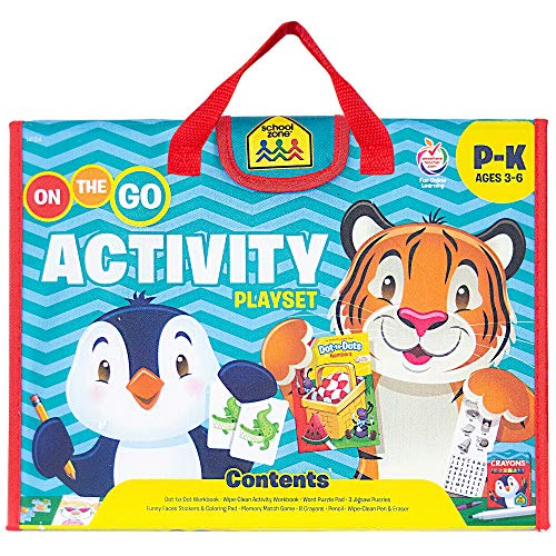 School Zone - On The Go Activity Learning Playset - Ages 3-6, Preschool, Kindergarten, Workbooks, Flash Cards, Cut & Paste, Tracing, Mazes, Search & Find, Carrying Case, Pencil & Wipe-Clean Marker
