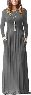 Women Long Sleeve Loose Plain Plus Size Maxi Dresses...