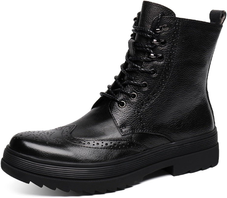 Herren Lederschuhe Herren Lederschuhe Martin Stiefel High-Top-Schuhe Kurze Stiefel Winter britischen Stil Tooling Army Stiefel Herrenschuhe (Farbe   Schwarz, gre   EU39 UK6)
