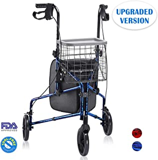 Health Line Upgraded Compact Folding 3 Wheel Aluminum Rollator Walker Lightweight with Bag and Basket, Flame Blue