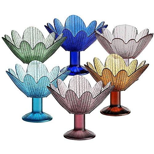 CRISTALICA Eiscremeglas Eisbecher Eisglas Eisschale Seerose 6er-Set Sortiert Colori Gelato 11cm