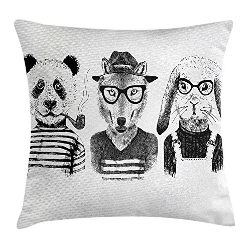 JIMSTRES Animal Throw Pillow Cushion Cover, Hipster Panda Bear Cigar Fox and Rabbit Glasses in Human Clothes Illustration, Decorative Square Accent Pillow Case, Black Grey White 20x20 inches