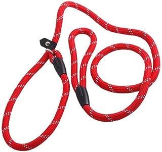 erioctry Pet Dog Nylon Adjustable Loop Slip Traning Leash Lead Rope Slip Dog Leash and Collar 1.2m Red