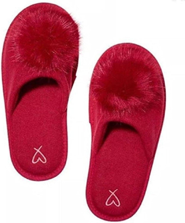 Victoria's Secret Pom-pom Slipper Vibrant Red Size Large