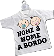 Sorrydenti mini t-shirt magliettina ventosa auto macchina vettura bimbo bimba beb/è a bordo fratelli bambina bambino gemelli piedini piedi impronte