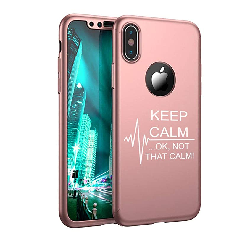 360° Full Body Thin Slim Hard Case Cover + Tempered Glass Screen Protector for Apple iPhone Keep Calm Ok Not That Calm Nurse Paramedic Medical EKG (Rose-Gold, for Apple iPhone XR)