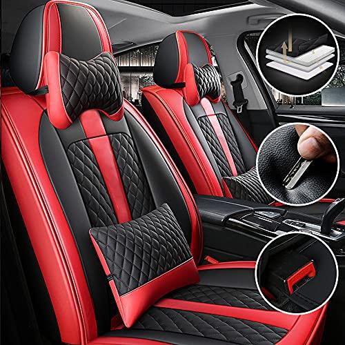 Dinuoda Coprisedili per Auto Universale PU Pelle Lusso 2 posti per Mazda 2 3 5 6 CX-3 CX-5 CX-7 CX-9 MX-5 BT50 RX8 Tribute Coprisedile Anteriori Protezione del Sedile(Nero Rosso)