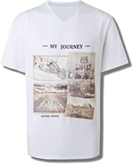 Men's Casual Vintage T-Shirts V Neck Short Sleeve Loose Fit Funny Graphic Tees