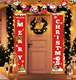 Idefair Merry Christmas Banners,New Year Outdoor Indoor Christmas Decorations Welcome Bright Green Xmas Porch Sign Hanging for Home Wall Door Party Decor