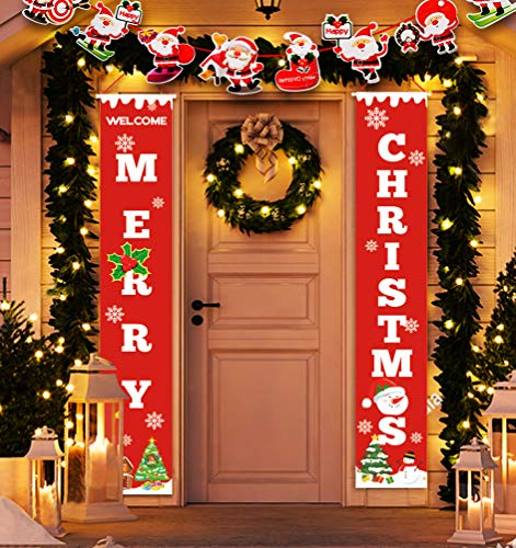 Idefair Merry Christmas Banners,New Year Outdoor Indoor Christmas Decorations Welcome Bright Red Xmas Porch Sign Hanging for Home Wall Door Holiday Party Decor (Red-Christmas Banner)