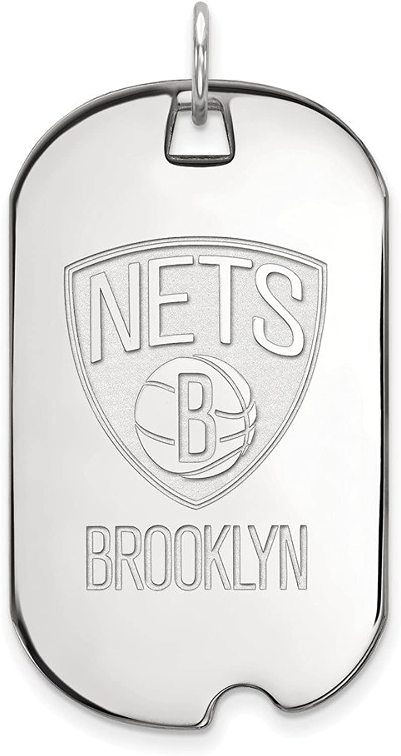 Sterling Silver NBA Basketball LogoArt Official Licensed Brooklyn Nets Large Dog Tag