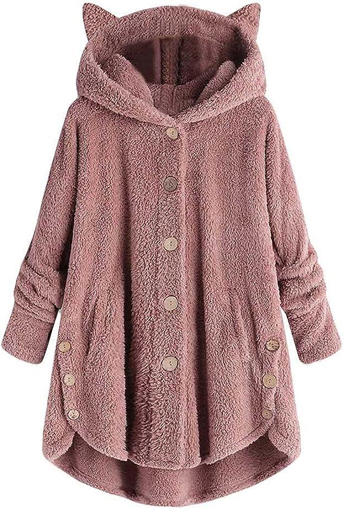 Women Fleece Jacket Coat With Bear Ear Cap Button Loose Fuzzy Hooded Sweatshirts Plus Size Fur Outwear Overcoat