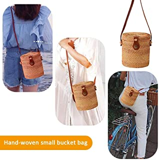 Handwoven Round Rattan Bag, Womdee Women Straw Summer Beach Bag Tropical Beach Style Woven Cross Body Bag Shoulder Rattan Bag Handwoven Straw Bag Bamboo Bag for Travel Vacation