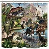 Riyidecor Kinder Dinosaurier Duschvorhang Jungen Jurassic Tier Dino Dschungel Wald Berg Dekor Stoff Panel Badezimmer 183 x 183 cm 12 Pack Kunststoff Duschhaken enthalten