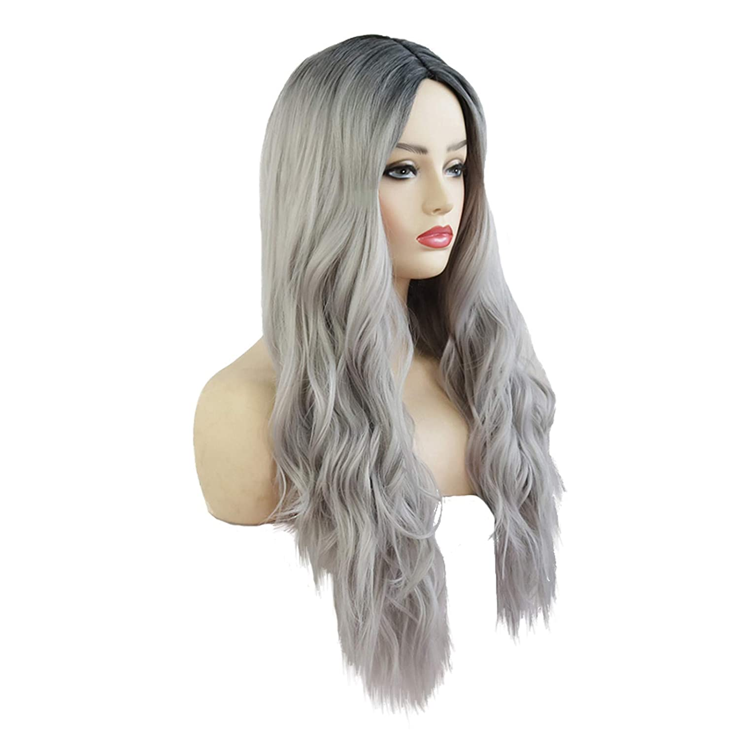 2021 Hot Mid-Length Straight Hair Long Wig,Women Gradient Pink Long Curly Hair Big Wave Wig Headgear Gold