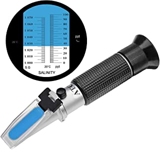 TRZ Professional Automatic Temperature Compensation Salinity Refractometer for Aquariums, Marine Monitoring, Saltwater Testing, Dual Sacle 0-100ppt & 1.000-1.070 Specific Gravity.