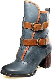 excelentes precios XIE Chelsea botas Crude High con Hebilla de cinturón Round Round Round Head Short botas Wohombres Single botas Knight botas  Envío 100% gratuito