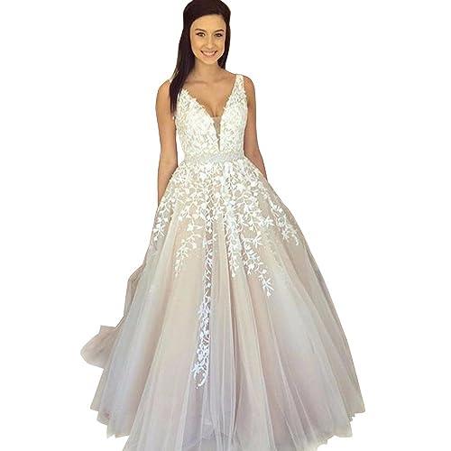 43c5d2d68f9 Abaowedding Women s Wedding Dress for Bride Lace Applique Evening Dress V  Neck Straps Ball Gowns