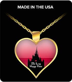 Disney Happy Place Heart Necklace Disneyland Castle Park
