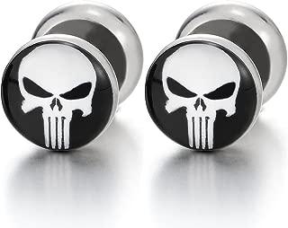 2 Rock Punk Mens Black White Punisher Skull Stud Earring, Steel Cheater Fake Ear Plugs Gauges Tunnel