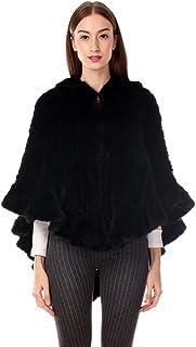 Ferand - Lujosa Capa Tejida en Auténtica Piel de Visón, Abrigo Poncho con Capucha de Piel para Otoño e Invierno - Mujer