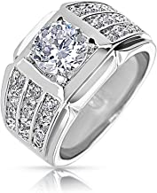 Cubic Zirconia Pinky Ring Pave 3 Row AAA CZ Wide Band Solitaire Mens Engagement Ring Silver Plated Brass