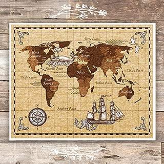 Antique World Map Wall Art Print - Unframed - 8x10