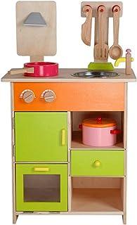 大型木製キッチン玩具セット、子供用シェフロールプレイングゲーム用アクセサリー、シミュレーションコンロ調理器具、クリエイティブギフト