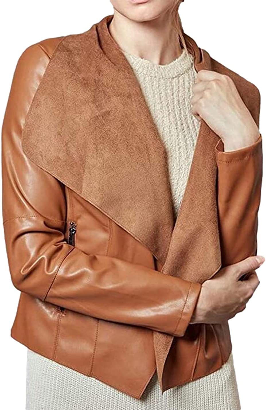 Xishiloft Women's Leather Jackets, Faux Motorcycle Plus Size Moto Biker Coat Short Lightweight PU Lapel Jacket