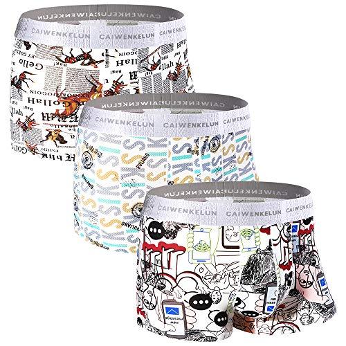 Zueauns Herren Boxershorts - Premium Eisseiden Faser Unterwäsche - Personalisierte mit Muster Drucken Unterhose Hipster Retroshorts 3er Pack (B/Farbe(3er Pack), XL)