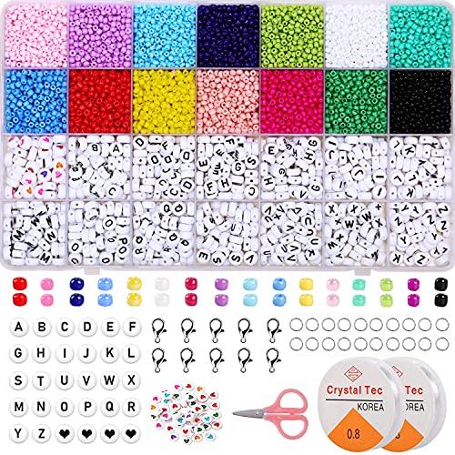 Glasperlen Set, 3MM Rocailles Perlen Set Mini Perlen Zum Auffädeln mit Buchstabenperlen Rund Alphabet Buchstaben Perlen Set, Perlen für Armbänder DIY Schmuck Set