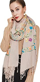 DANA XU Embroidery 100% Pure Wool Pashmina Shawls and Wraps …