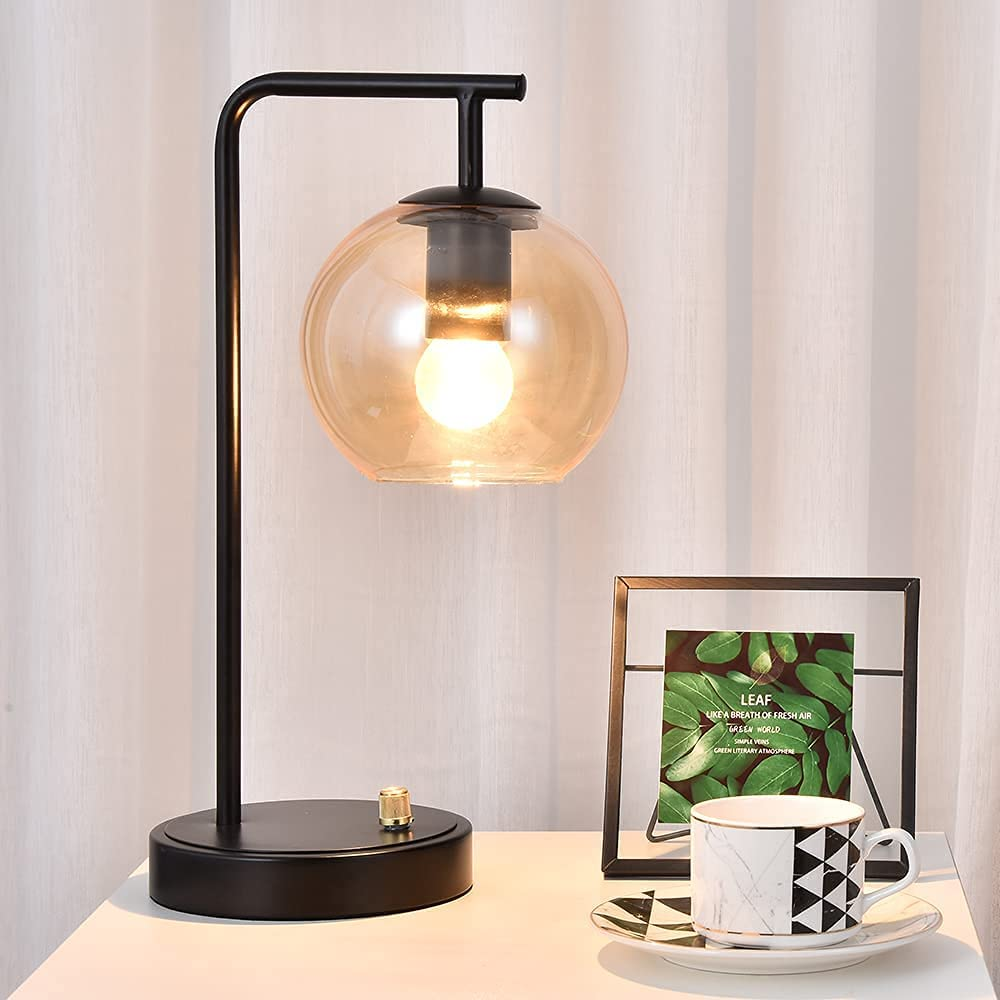 Charlotte Mall Berliget Black Industrial Glass Table New color Lamp Desk Nightstand