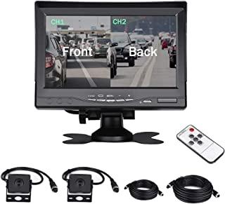 Dual Backup Camera with 7'' 2 Split Monitor Kit, Front View/Rear-View Camera, Night Vision, Waterproof,49.3FT Cables for Trucks, RV, Trailer, Bus