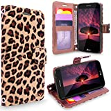 LG K4 2017 Case, Cellularvilla [Slim] [Card Slot] Pu Leather Wallet Case Book Style Flip Stand Cover For LG K4 2017 / LG Phoenix 3 / LG Fortune / LG Aristo / LG Risio 2/ LG Rebel 2 (Brown Leopard)