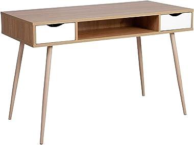 WOLTU® TSG19hei Scrivania Tavolo da Studio PC Computer con 2 Cassetti Ufficio Tavolino Scaffale Moderno in Legno