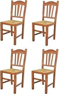 Tommychairs - Set 4 sillas Silvana para Cocina y Comedor, Estructura en Madera de Haya Color Cerezo y Asiento en Paja