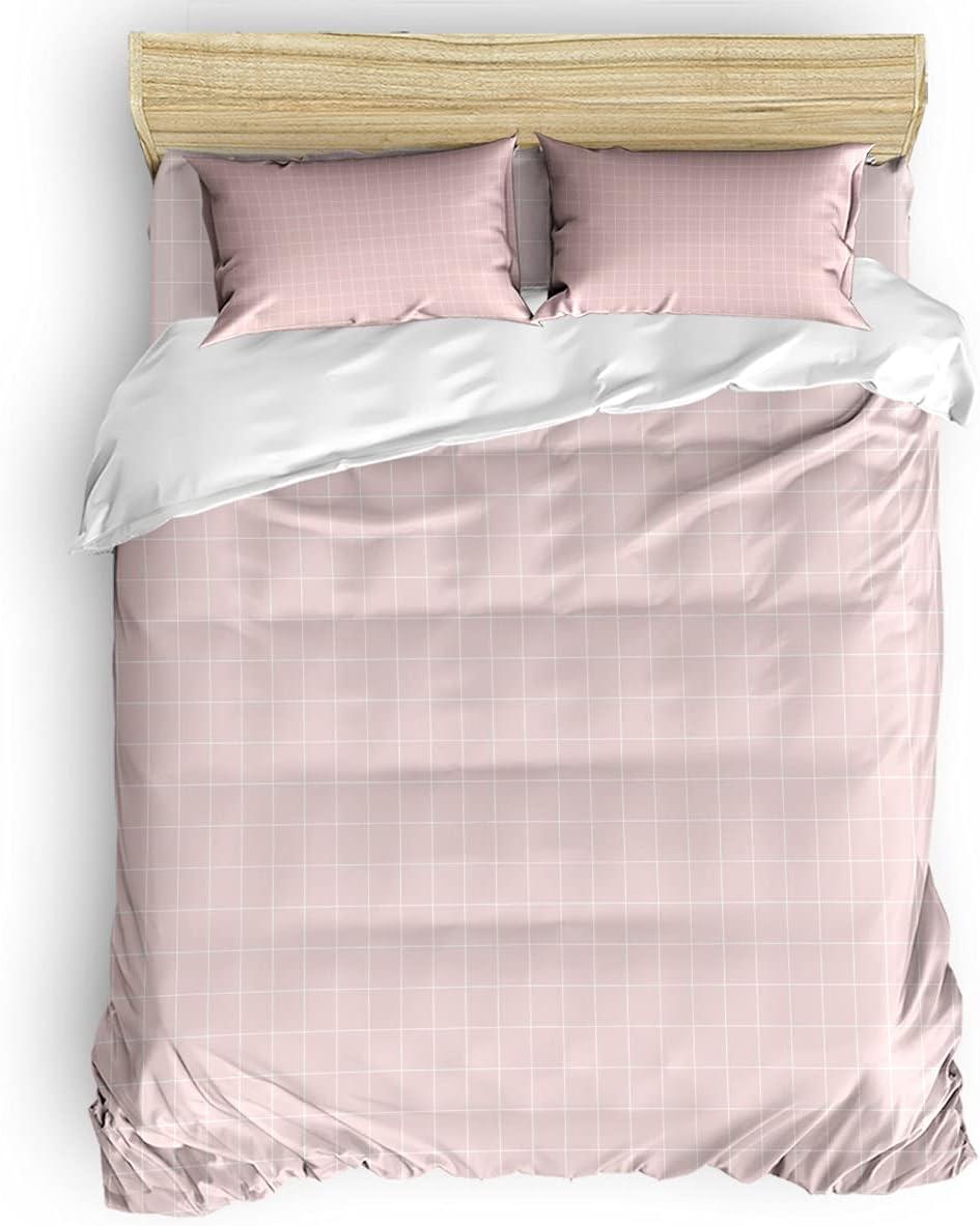 Libaoge Duvet Challenge the lowest price Cover Set Queen Size Ultra Soft Be 4Pcs Pink Brand Cheap Sale Venue Plaid