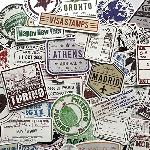 60pcs Creative Postmark Stamp Style Stickers of Popular City Paris New York London Rome For Luggage Suitcase Car Decal F4