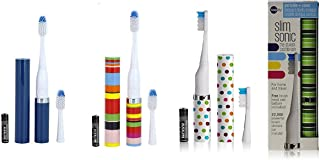 Violife Slim Portable + Sonic Toothbrush Set, Designs As Pictured, 4 Count, Ocean, Candy Stripe, Spearmint, Confetti