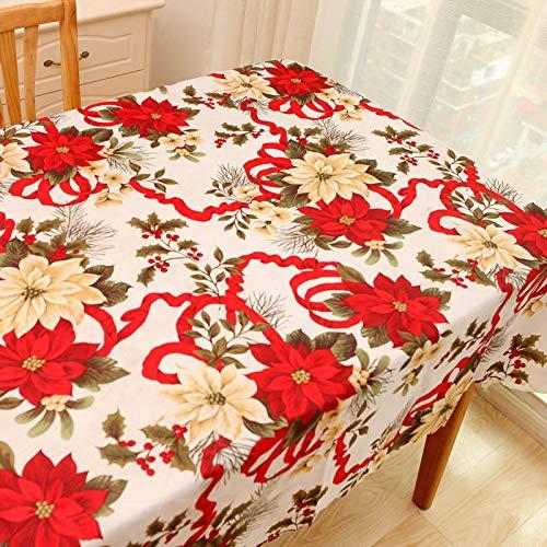 YCZZ Manteles, Patrones de Cinta de Navidad, manteles rectangulares domésticos, Mantel de Centro Rojo, manteles de Dibujos Animados de Año Nuevo 140×180cm Cinta de Navidad