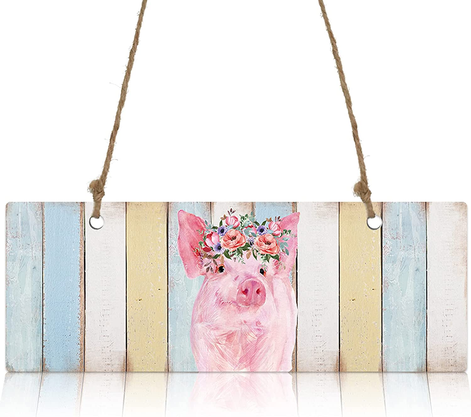 Wall Max 40% OFF Sign Wood Plaque Watercolor Farm Floral OFFicial mail order Pig and Wreath Pink