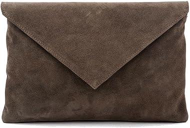 Sac clutch pour femme Margot, Cuir suède couleur verte, dimensions in cm: 32 L x 20 H x 1,5 p