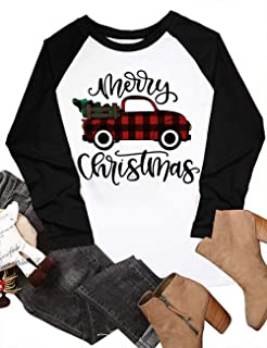 UNIQUEONE Merry Christmas Baseball T Shirts Women Christmas Long Sleeve Raglan Shirt Christmas Plaid Truck Tree Graphic Sp...