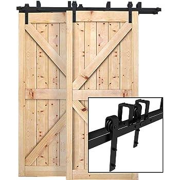 5.5FT//167cm Quincaillerie Kit de Rail pour Porte Coulissante Kit de Rail de Porte de Grange Robuste Adapt/é /à une Porte en Bois Unique,forme de J
